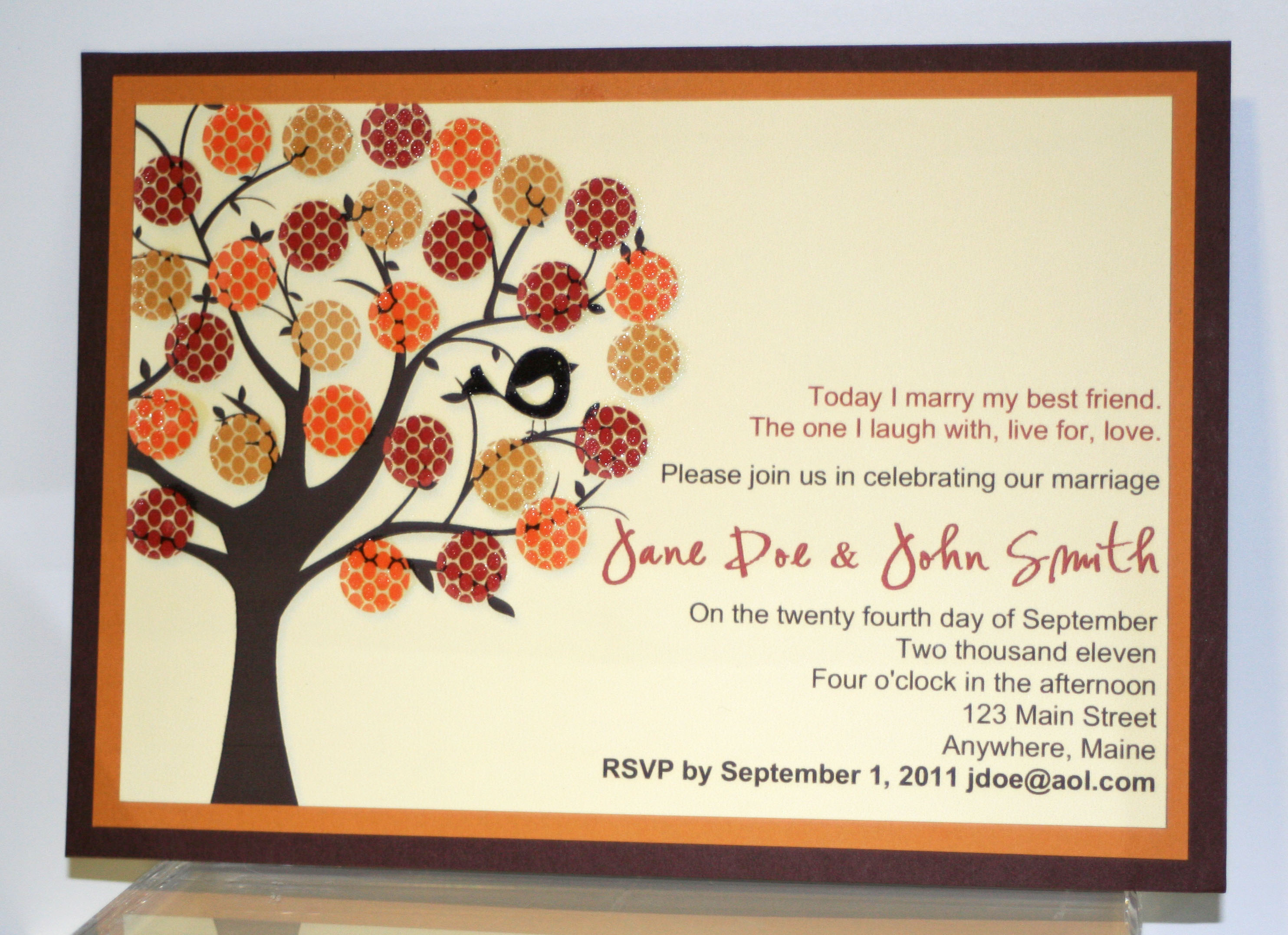Fall Wedding Invitation Card
