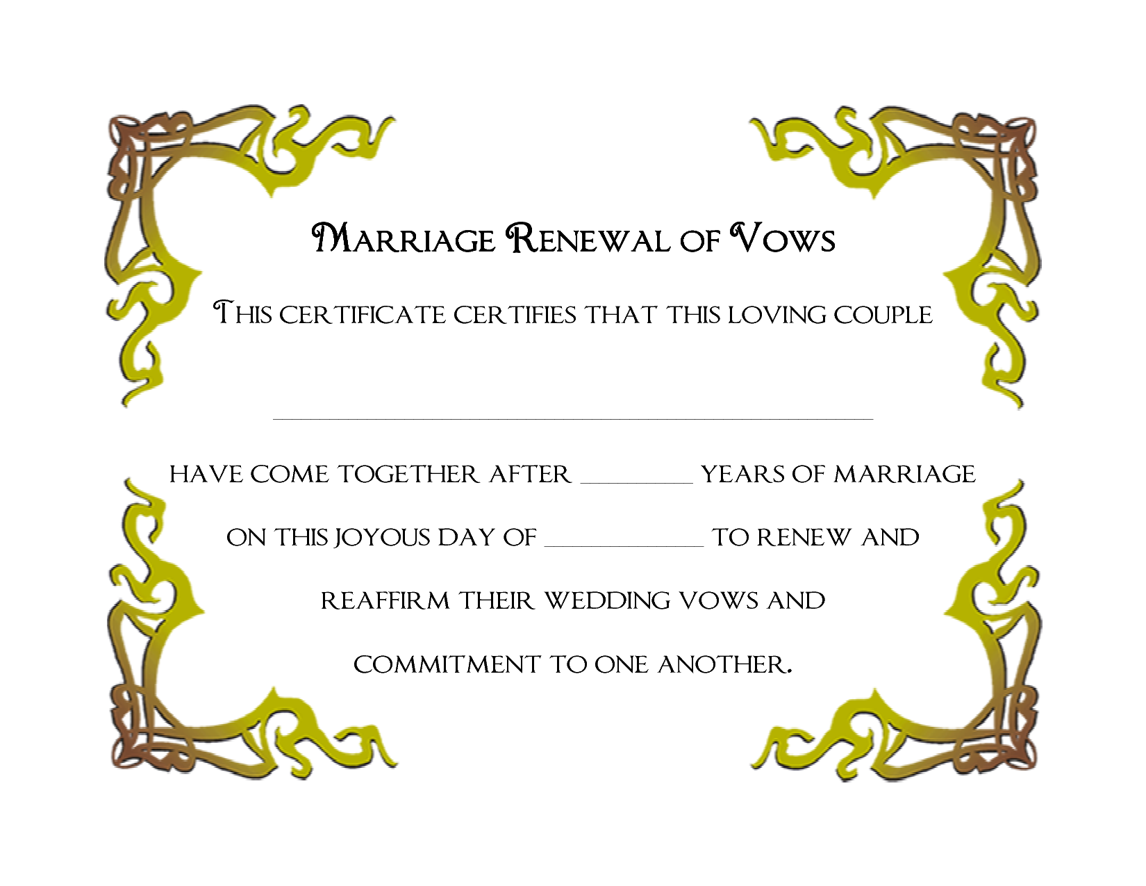 Marriage Renewal Template