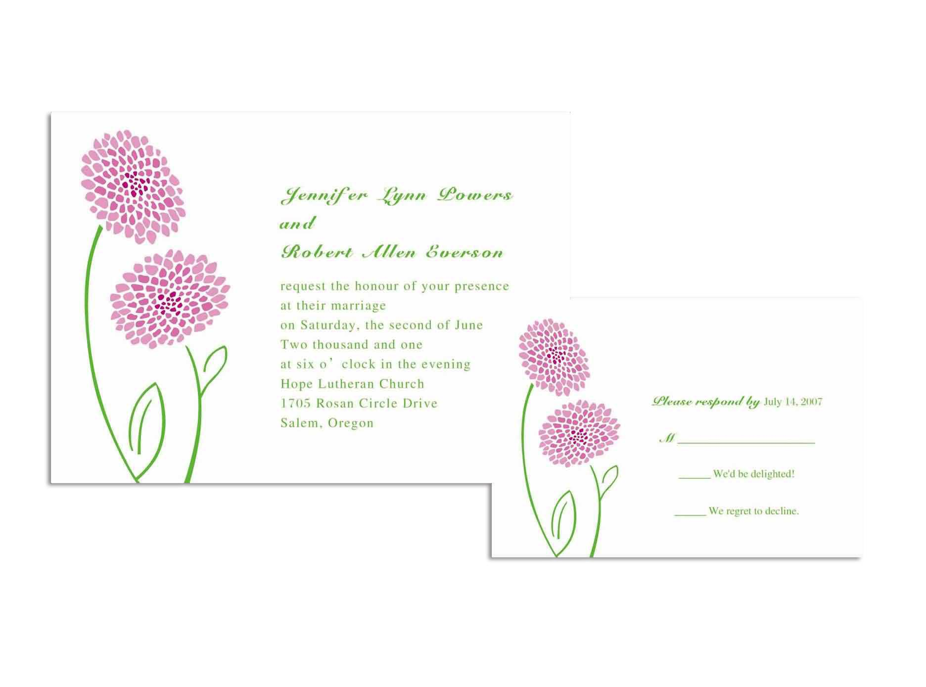 Cheap Wedding Invitation Sample
