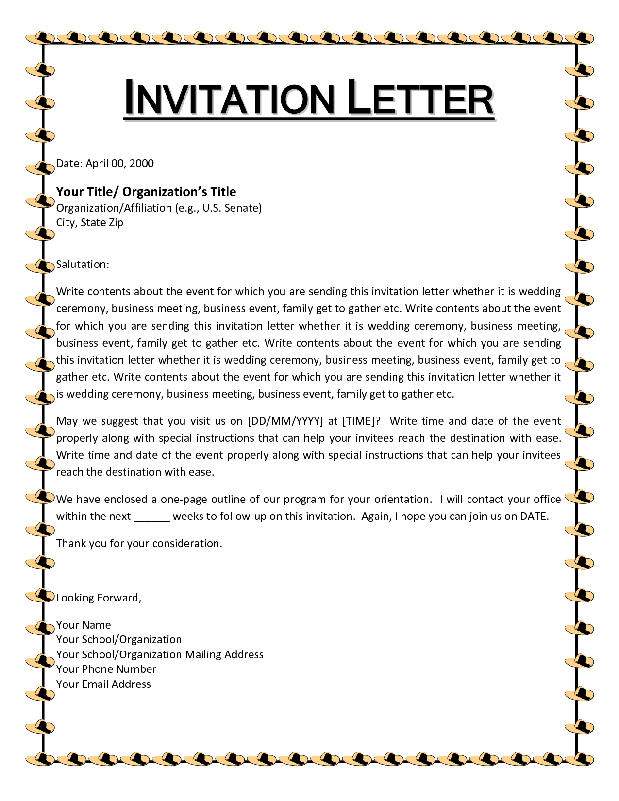 Invitation Letter Template