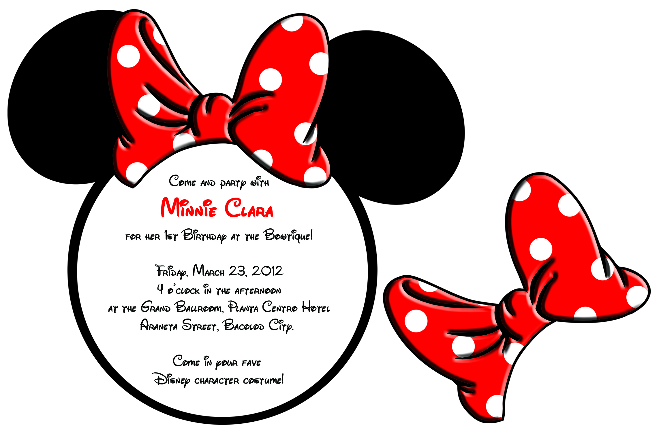 Minnie  Mouse Invitation Sample