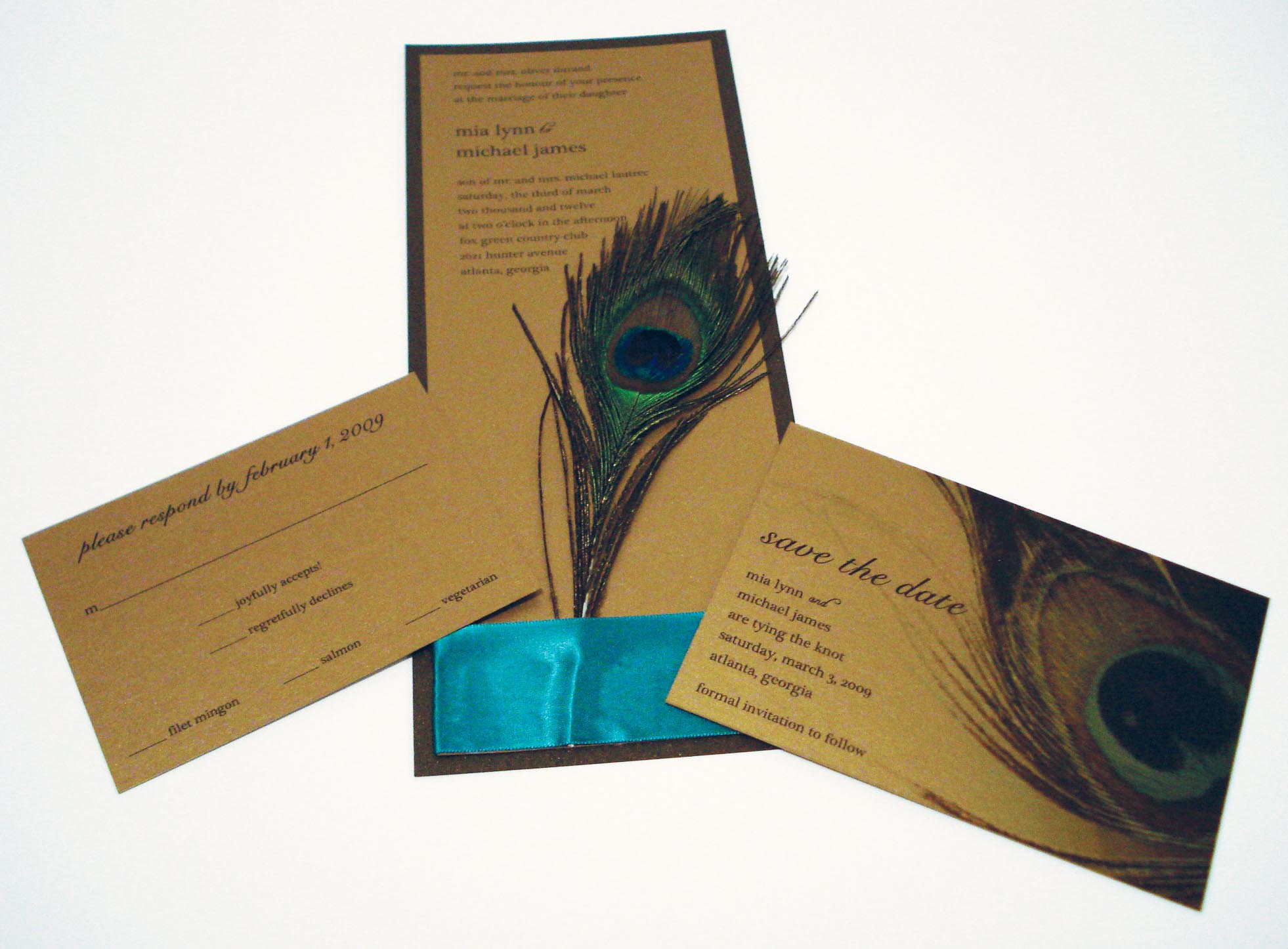Peacock Inspired Wedding Invitation Card