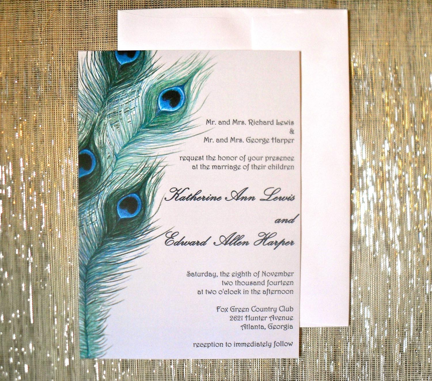 Peacock Inspired Wedding Invitation Design
