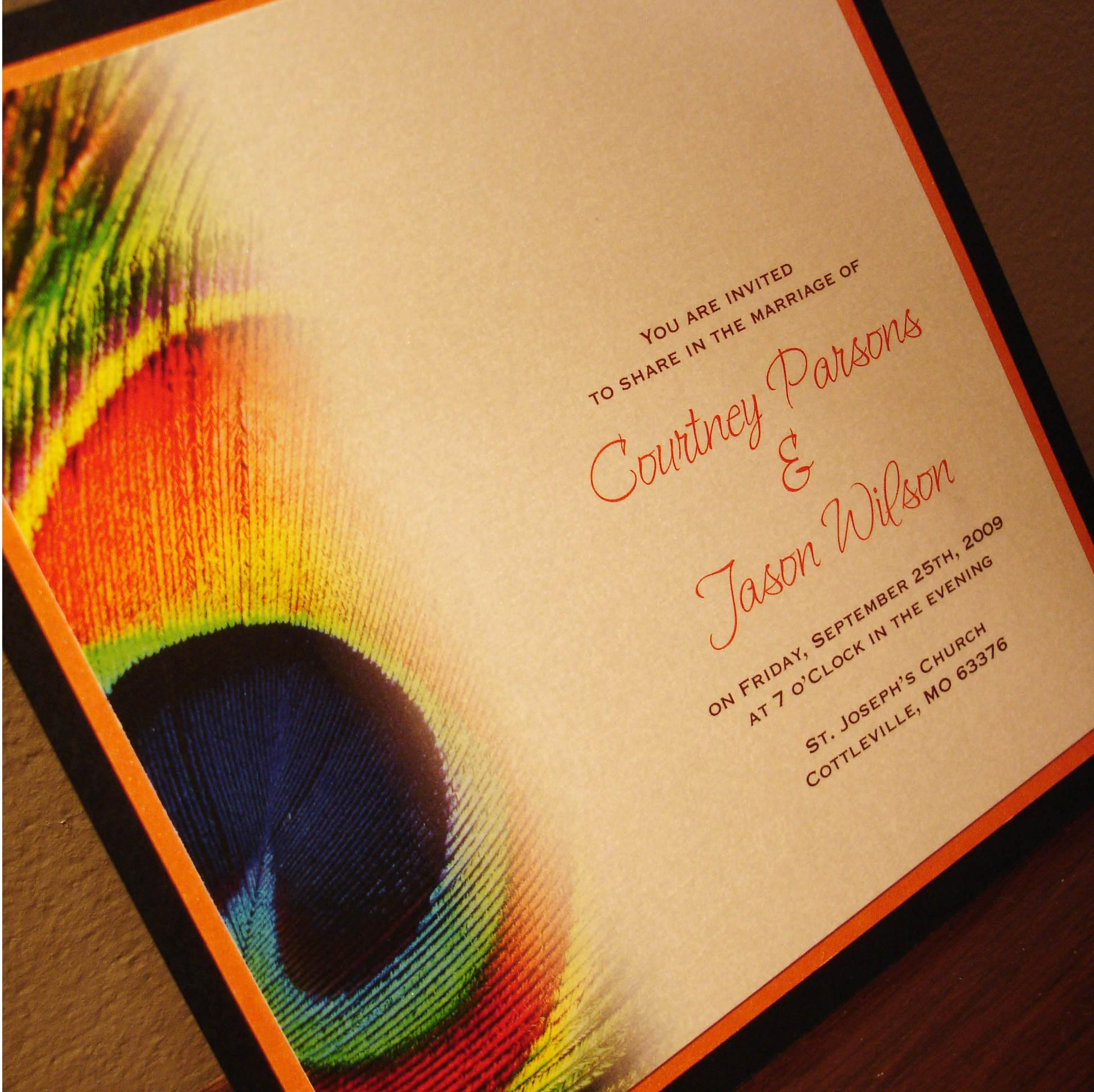 Peacock Inspired Wedding Invitation Quotes