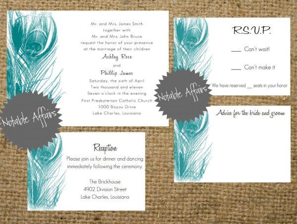 Peacock Inspired Wedding Invitation Template