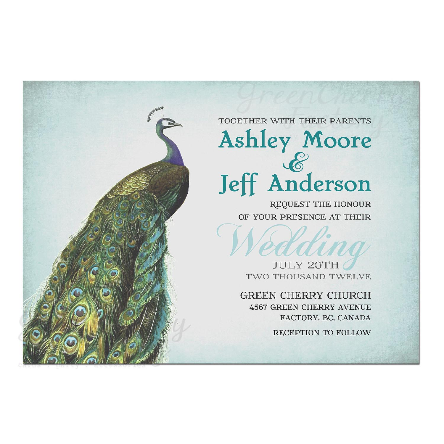 Peacock Inspired Wedding Invitation Template Card