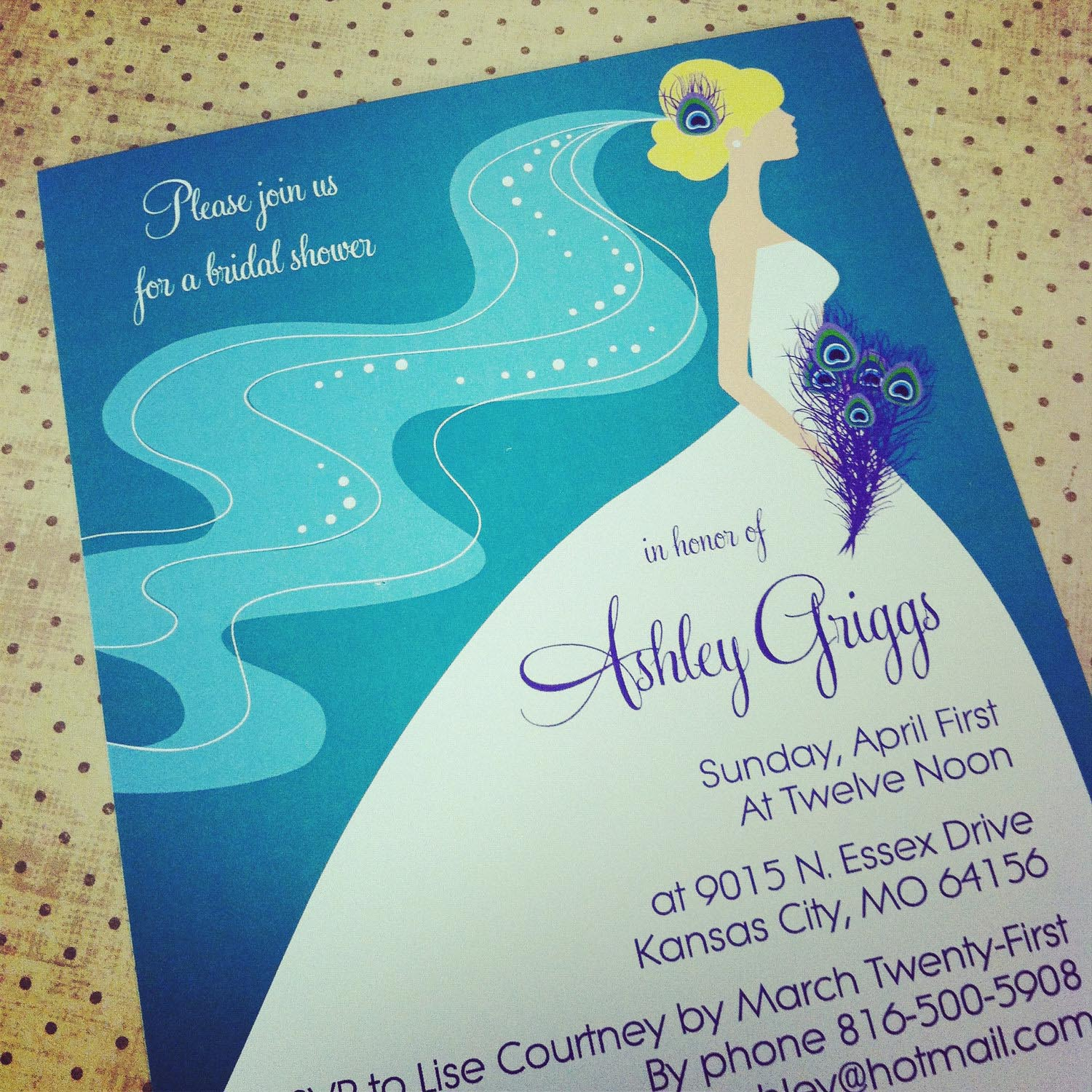 Peacock Inspired Wedding Invitation Template Quotes