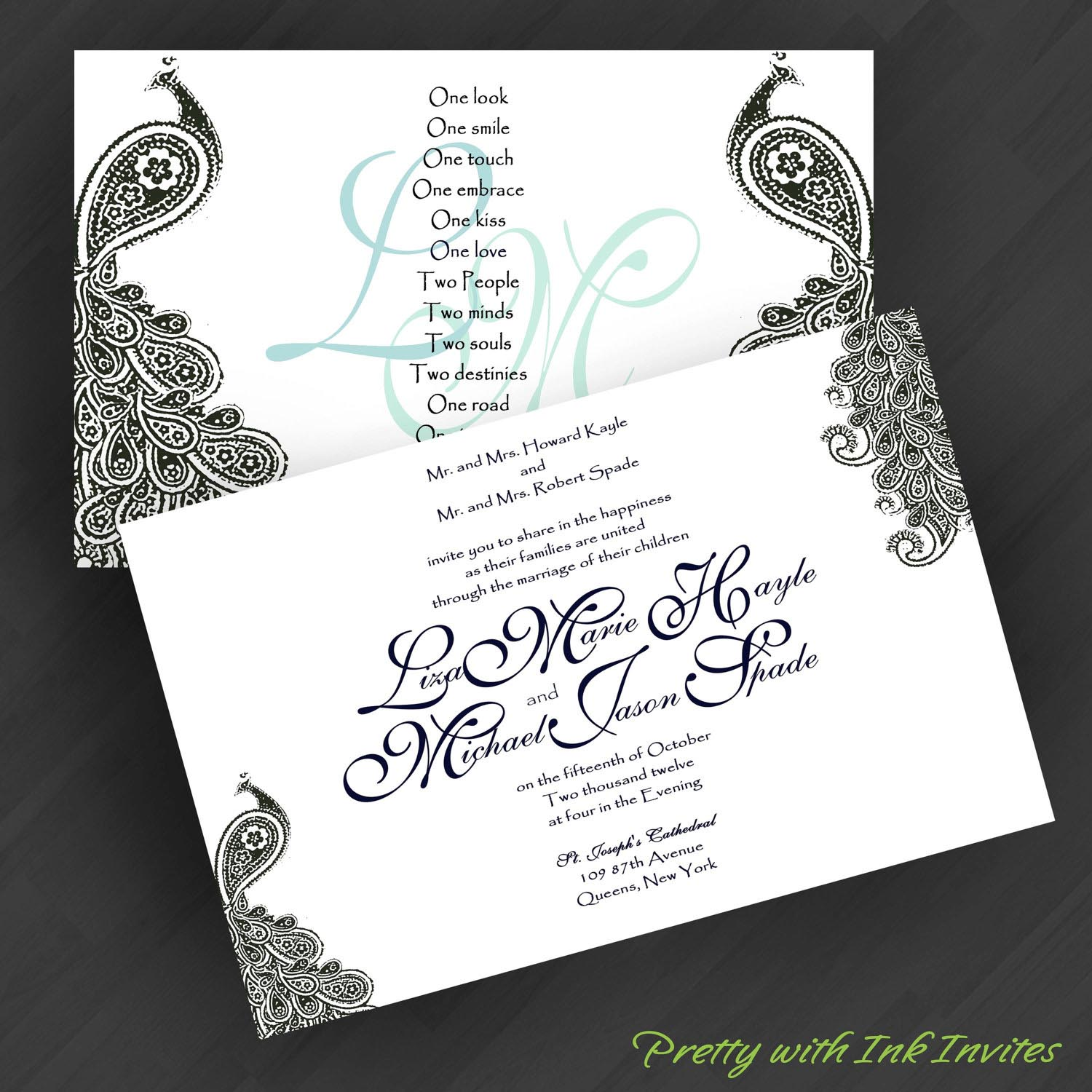 Peacock Inspired Wedding Invitation Template Sample