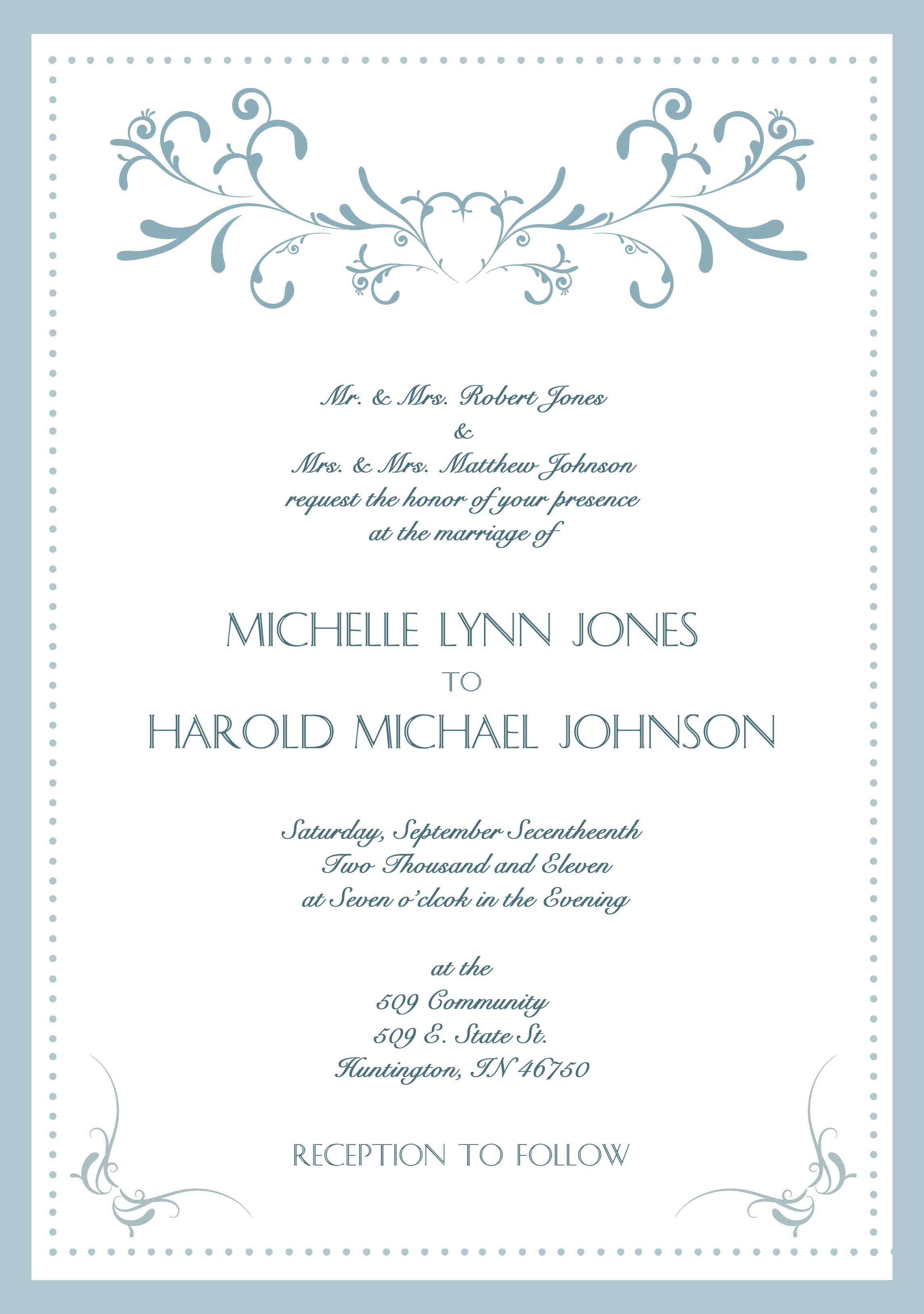 Sample Wedding Invitation Card