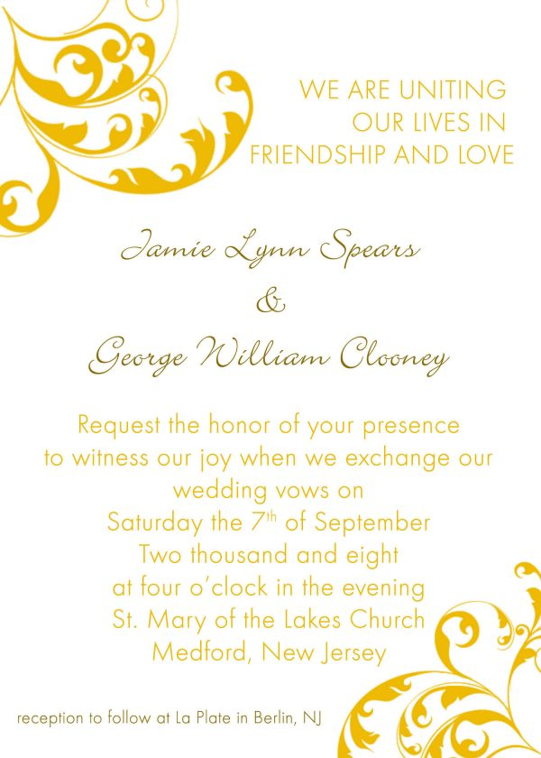 Sample Wedding Invitation Template Quotes