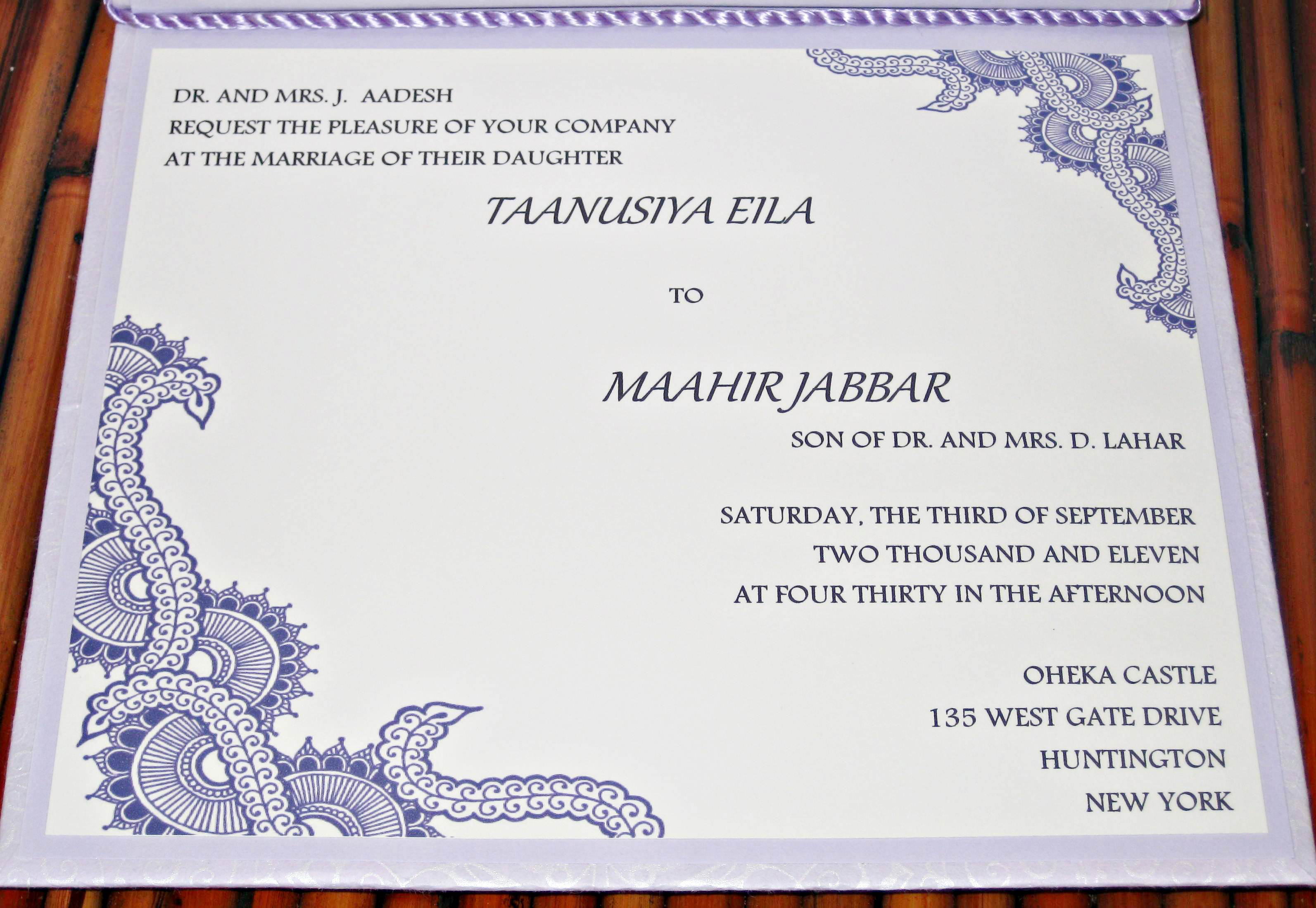 Wedding Invitation Cards Sample