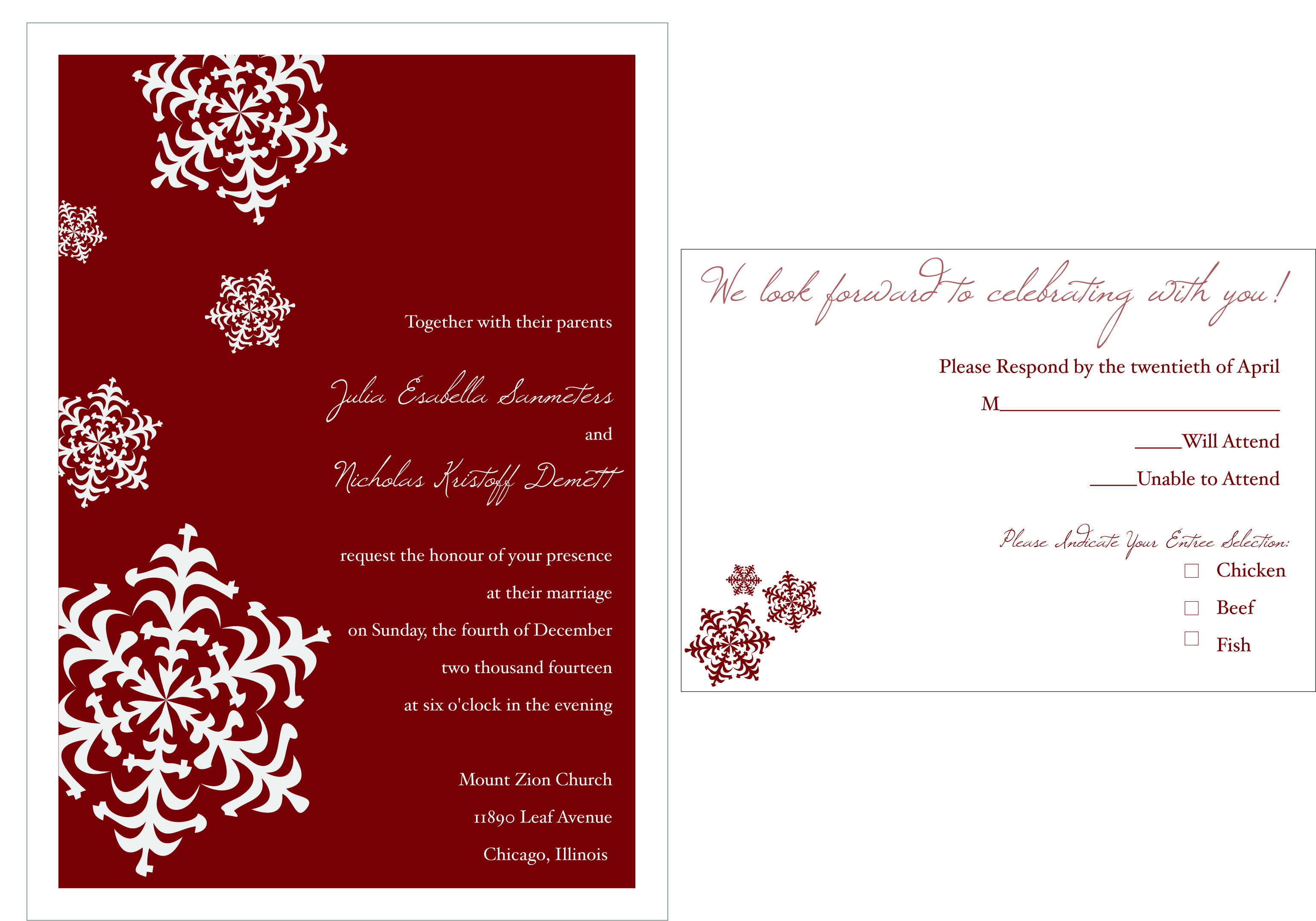 Wedding Invitation Examples Card