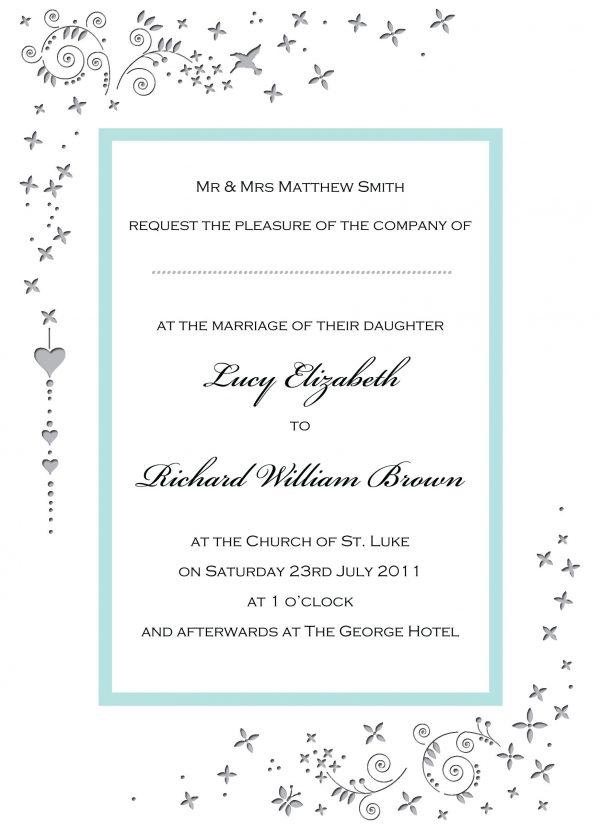 Wedding Invitation Wording Card